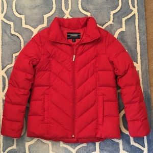 Lands End Red Down Coat Puffer Jacket S 6 8